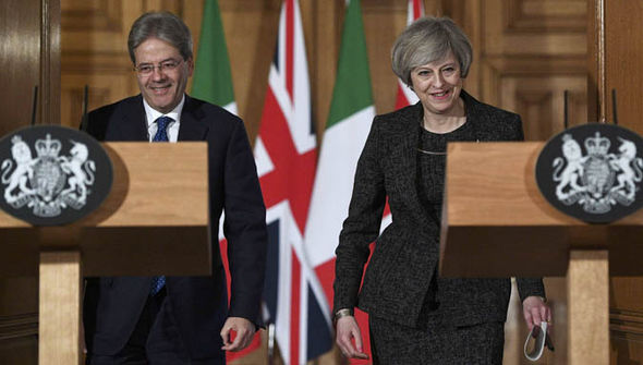 Paolo Gentiloni Theresa May