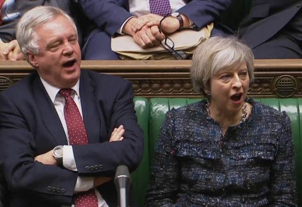 David Davis and Theresa May in Parliament