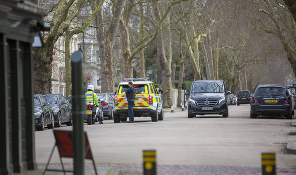 Police at the Russian embassy in London