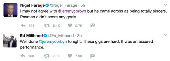 Tweets from Nigel Farage and Ed Miliband