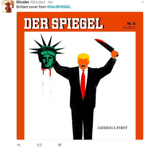 Twitter users respond to Der Spiegel cover