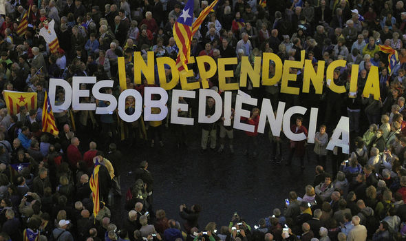 Catalonian independence campaigners