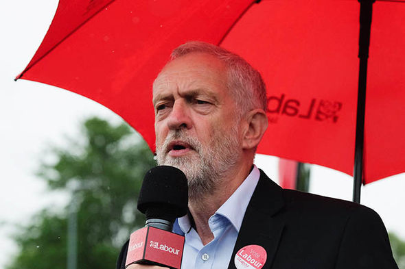 Jeremy Corbyn holding an umbrella