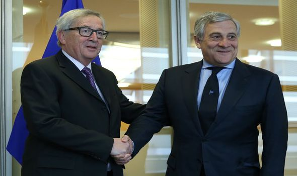 Jean-Claude Juncker and Antonio Tajani