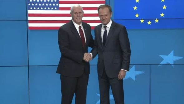 Mike Pence and Donald Tusk
