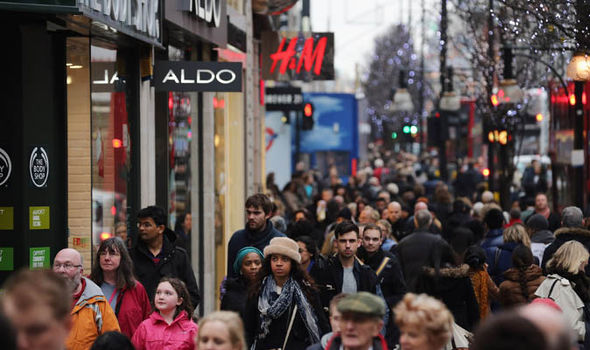 Shoppers on a British high street