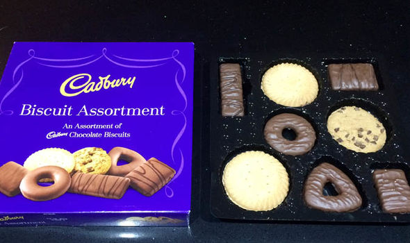 Cadbury's box and the eight biscuits inside