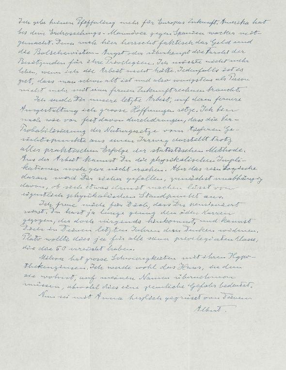 Albert Einstein letter slamming Neville Chamberlain for