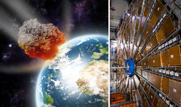 The Large Hadron collider and an artist impression of an asteroid heading to earth