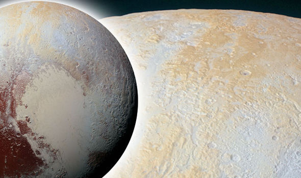 Pluto's north pole taken close-up by New Horizons made up of various ices