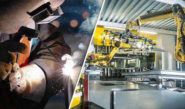 A welder and a car-building robot