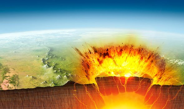 The caldera erupting