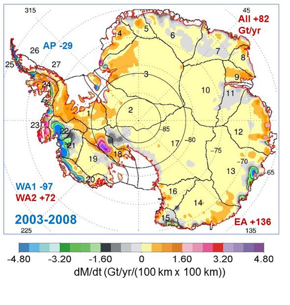Map showing the extent of ice during the NASA studies