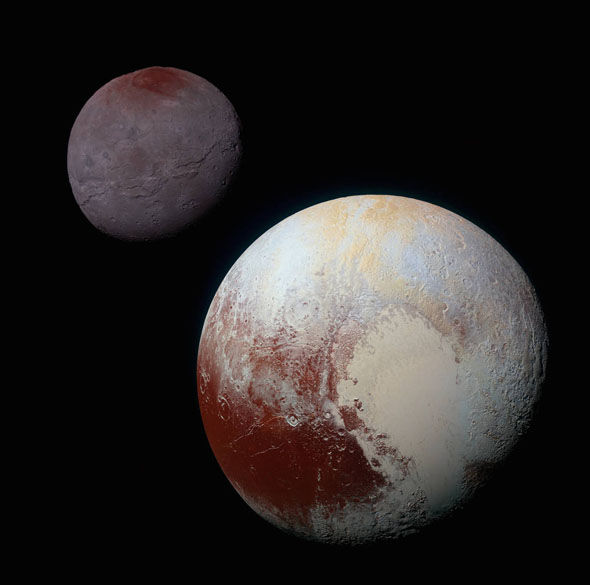 Enhanced colour images of Pluto (right) and Charon (upper left) show approximate relative scale