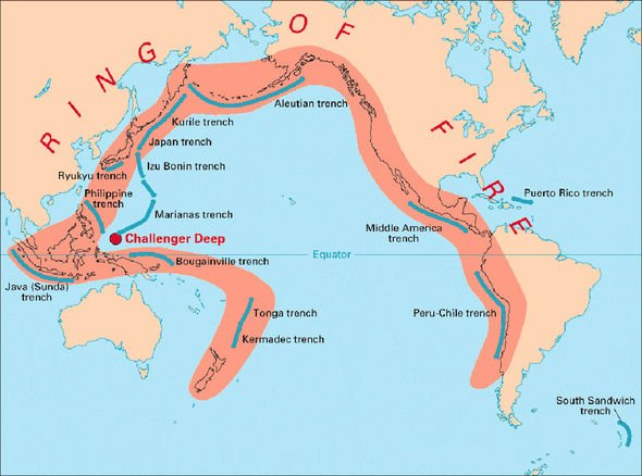Ring of Fire: Earthquake hotspot map