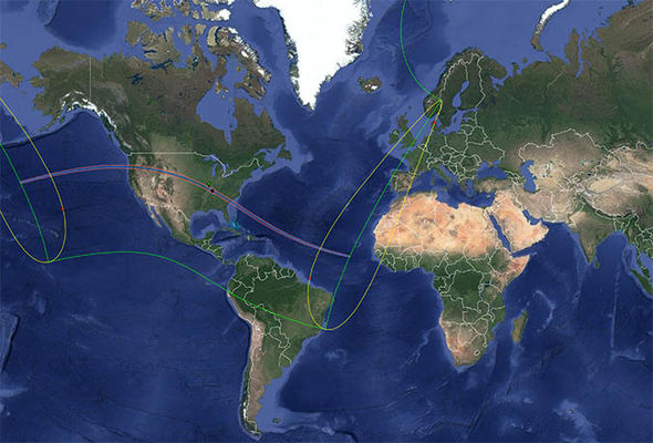 Global map of the solar eclipse path