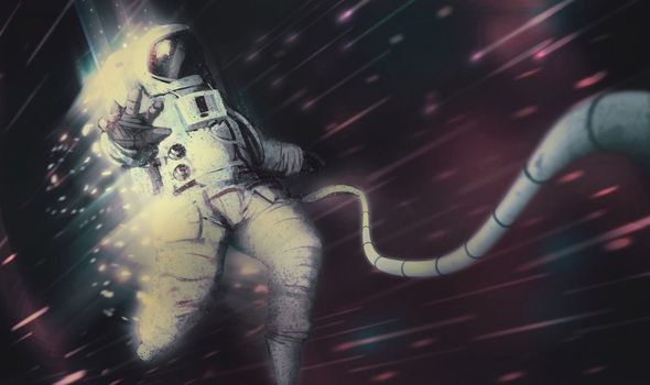 black hole: Stylised image depicting an astronaut in a black hole