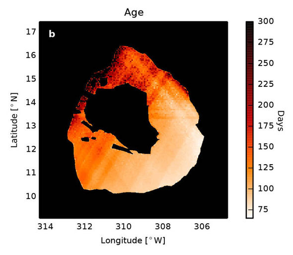 Maps of the lava crust age within Loki Patera