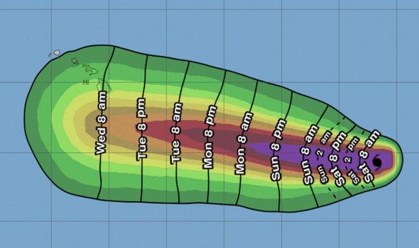 Hurricane Hector path map - timings