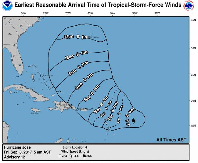 Huracán José camino: 5am NOAA actualización