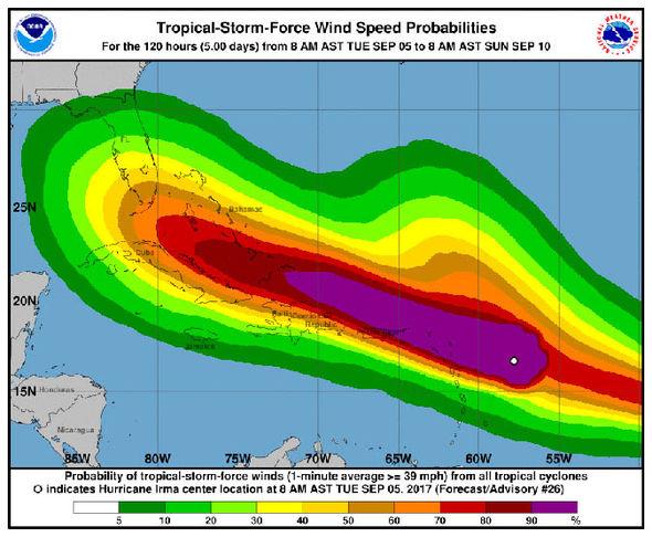 Hurricane Jose wind probabilities