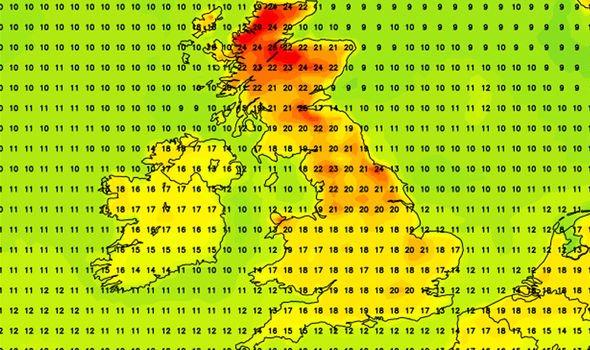 UK weather forecast temperature