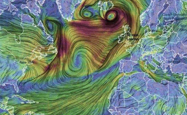 Uk Weather Forecast Storm Ellen Seen On Map As Swirling