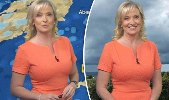 Carol Kirkwood looked very peachy