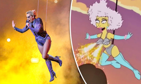 Super Bowl 2017 Lady Gaga's half-time jump show was PREDICTED by The Simpsons in 2012