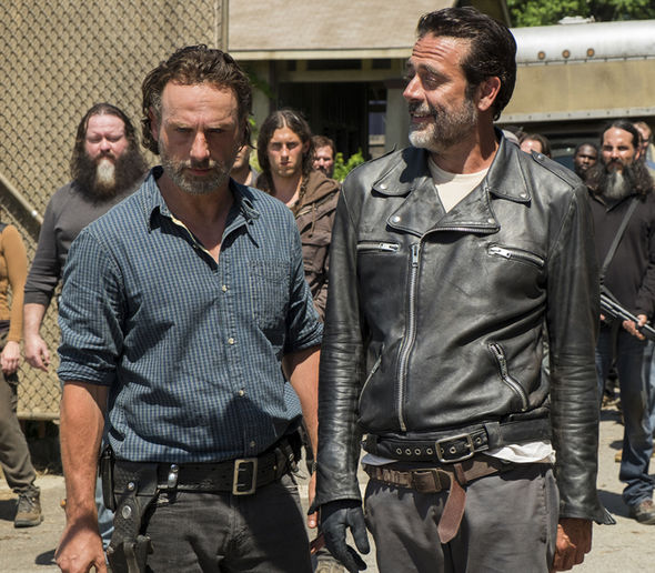 Andrew Lincoln as Rick Grimes and Negan