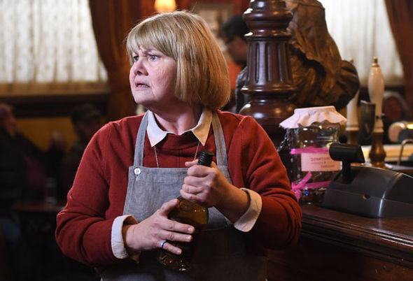 Annette Badland as a worried Aunt Babe