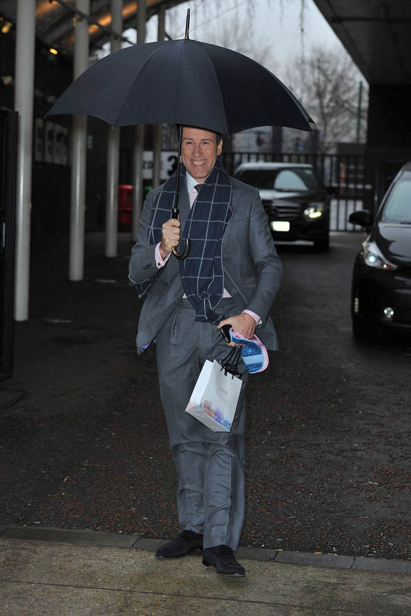 Anton Du Beke with an umbrella