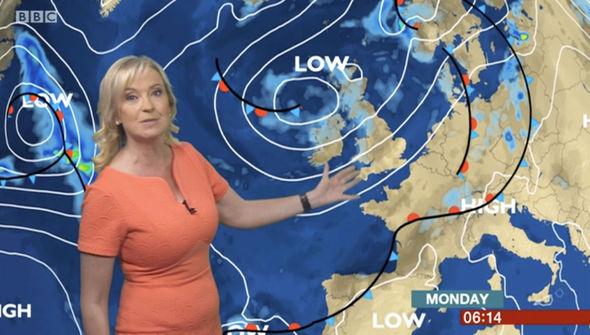 Carol Kirkwood delivered the morning forecast