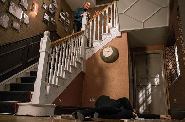 Chrissie White falls over banister
