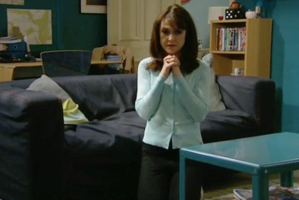 Emma Barton prays for forgiveness in Emmerdale