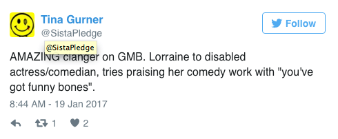 Lorraine Kelly fans disabled actress Liz Carr