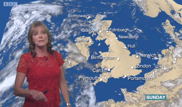 Louise Lear tried to continue with the weather report despite vanishing from the screen