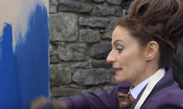 Michelle Gomez as Missy on the Doctor Who set