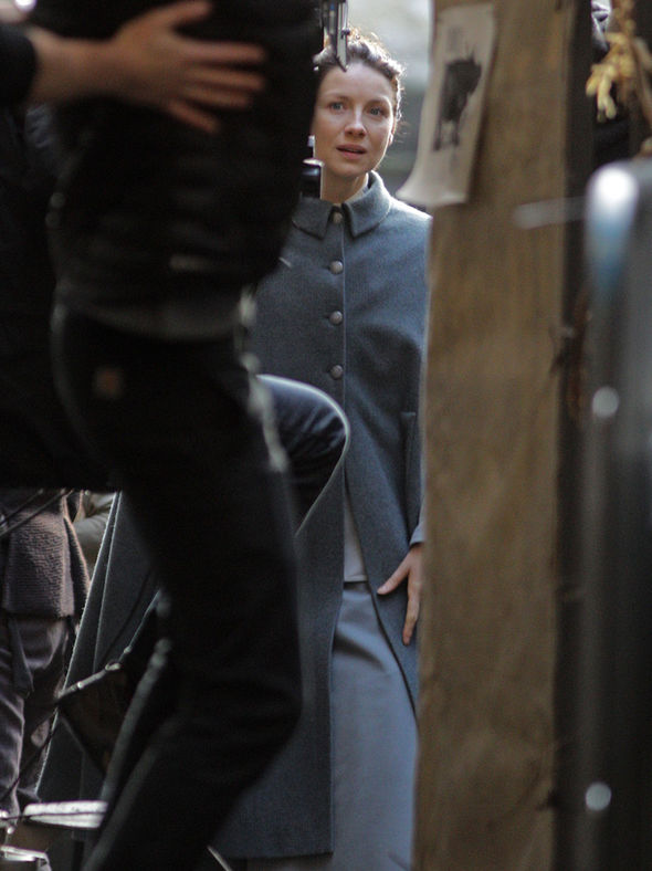 Caitriona Balfe shoots scenes on Outlander