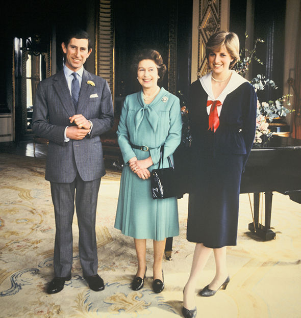 Prince Charles alongside Queen Elizabeth and Princess Diana