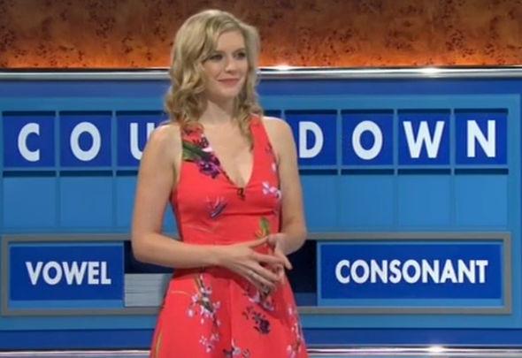 Rachel Riley in plunging dress