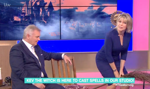 Ruth Langsford rides a broom on This Morning as part of Strictly Come Dancing spell