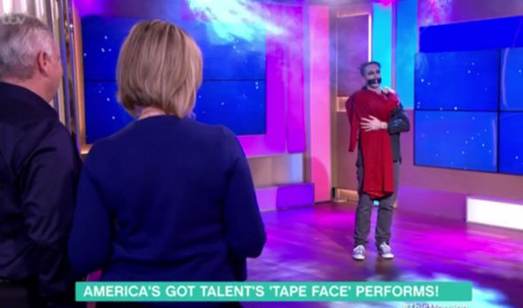 Ruth and Eamonn watch on as TapeFace performs
