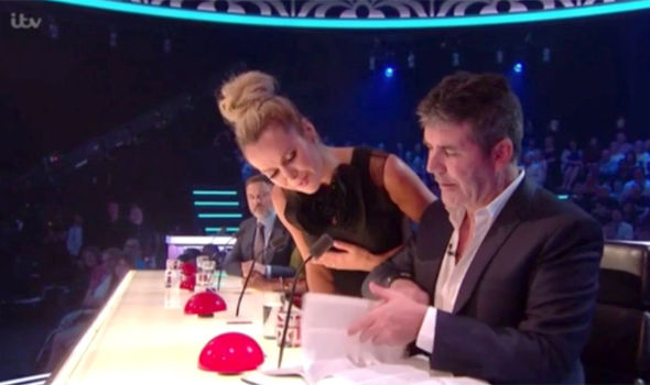Simon Cowell and Amanda Holden help out on Britain's Got Talent