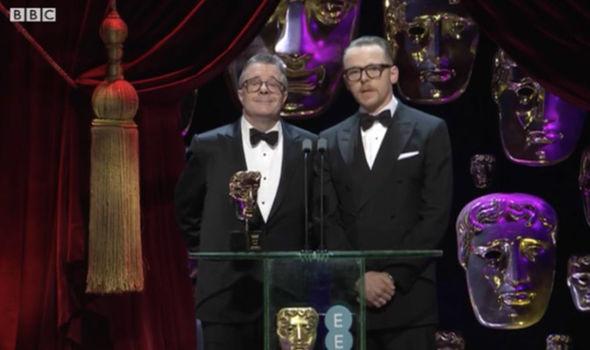 Simon Pegg makes a joke about Hitler at the BAFTAs 2017