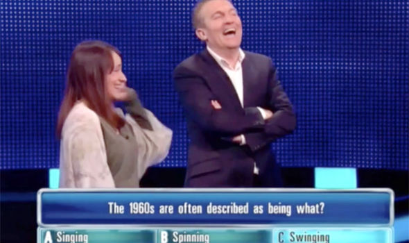 The contestant and Chase host Bradley Walsh could not stop laughing