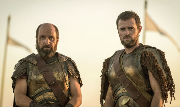 Johnny Harris as Agamemnon and Jonas Armstrong as Menelaus in Troy: Fall of a City