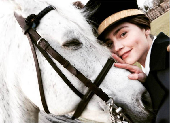 Jenna Coleman and a horse