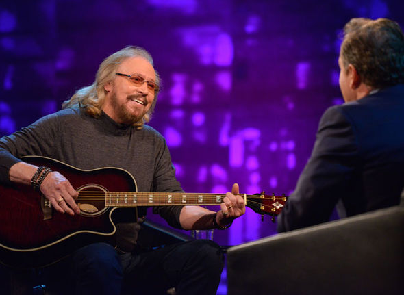 Barry Gibb performs for Piers Morgan