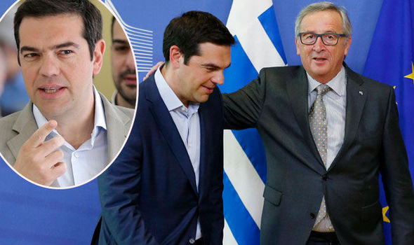 Greece's Prime Minister Alexis Tsipras with Jean Claude Juncker in Greece